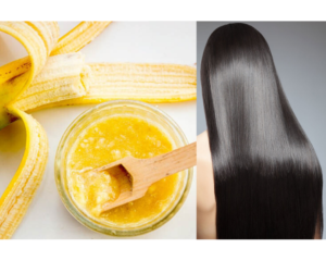 DIY BANANA HAIR MASK FOR GLOSSY, STRAIGHT HAIR.